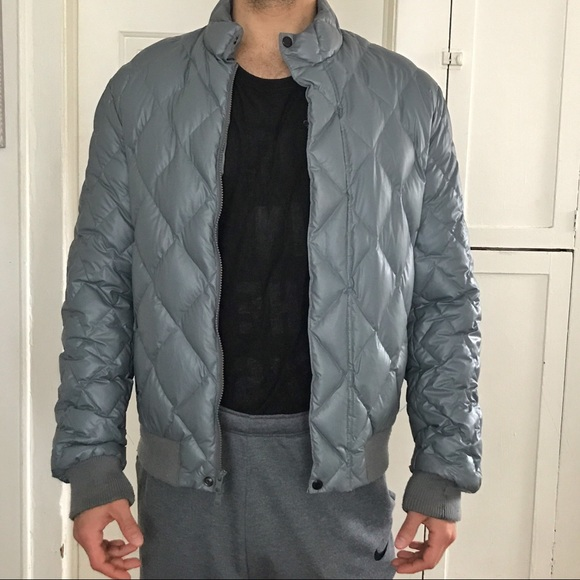 wholesale price buy online designer fashion Armani Exchange Grey Quilted Bomber Winter Jacket